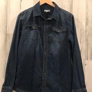 Boys Cherokee denim long sleeve casual shirt sz 16